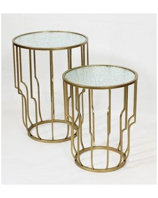 Amazing Deal On Mercer41 Openwork Glass Top Frame Nesting Table Glass Metal In Gold Clear Size 22 H X 16 W X 16 D Wayfair E22ab340d37f425c8270e66b89f64783