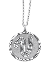Personalized Sterling Silver Initial Pendant Necklace, One Size , White