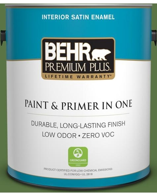 BEHR Premium Plus 1 gal. #420D-7 Dill Pickle Satin Enamel Low Odor Interior Paint and Primer in One