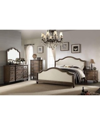 Baudouin Collection 26110QSET 5 PC Bedroom Set with Queen Size Bed Dresser Mirror Chest and Nightstand in Weathered Oak