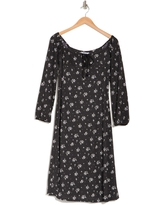 VELVET TORCH Floral Long Sleeve Midi Dress, Size X-Small in Black Floral at Nordstrom Rack