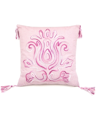 Sabra Tie Dyed Light Pink Accent Pillow (Pink - Polyester - Square - Bohemian & Eclectic - Zipper Closure - Geometric)