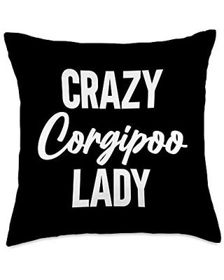 BW Dog Lover Gifts Crazy Corgipoo Lady Funny Dog Mom Gift Throw Pillow, 18x18, Multicolor