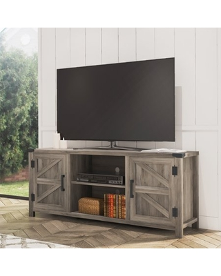 FITUEYES Farmhouse Barn Door Wood TV Stands for 70'' Flat Screen, TV Console Storage Cabinet, Rustic Gray Wash Entertainment Center for Living Room, 59 Inch