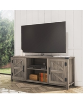FITUEYES Farmhouse Barn Door Wood TV Stands for 70 Inch Flat Screen, TV Console Storage Cabinet, Rustic Gray Wash Entertainment Center for Living Room, 59 Inch