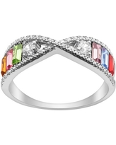Personalized Women's Sterling Silver or Gold over Silver Family Baguette Birthstone Ring with CZ