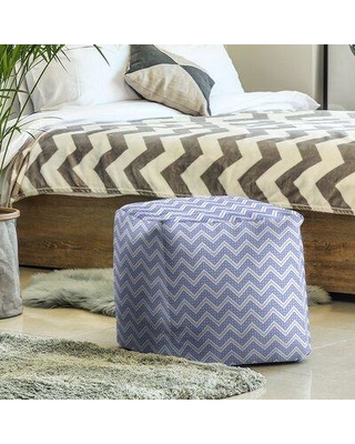 East Urban Home Classic Hand Drawn Chevron Pattern Cube Ottoman W001706603 Upholstery Color: Light Blue
