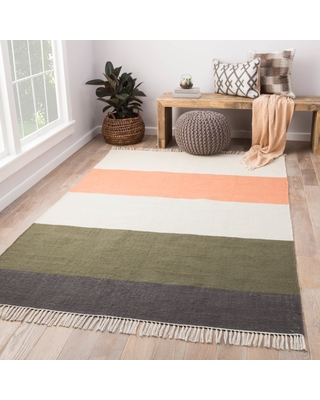 """Tahoe Coral/Green Striped Area Rug (8' x 10') - 7'10"""" x 9'10"""" (Coral/Green - 7'10"""" x 9'10"""")"""