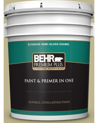 BEHR Premium Plus 5 gal. #ICC-68 Minced Ginger Semi-Gloss Enamel Exterior Paint and Primer in One