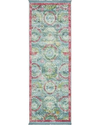 """Bungalow Rose Lonerock Turquoise/Pink Area Rug BGRS2204 Rug Size: Runner 2'2"""" x 6'"""