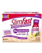 SlimFast Advanced Nutrition Meal Replacement Shakes, Vanilla Cream, 20g Protein, 11 fl oz, 8 Ct