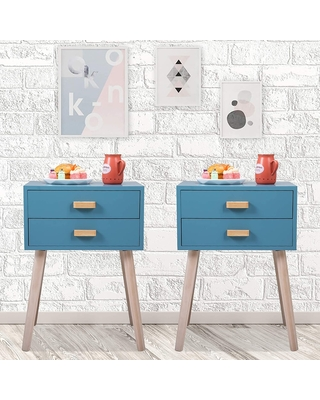 2pcs Nightstand with 2 Drawers, Wood Bedside End Table Storage Cabinet