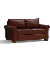 """PB Comfort Roll Arm Leather Loveseat 68"""", Polyester Wrapped Cushions, Leather Signature Whiskey"""