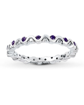 Stackable Amethyst Ring 1/8 ct tw Diamonds Sterling Silver