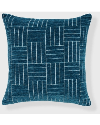 "18""x18"" Staggered Striped Chenille Woven Jacquard Square Throw Pillow Teal - freshmint"