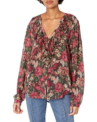 for Love and Liberty Women's Silk Button Down Shirt, Multi, L