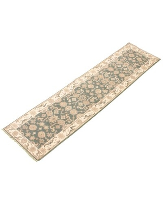 """One-of-a-Kind Bryniah Hand-Knotted New Age Ushak Gray/Ivory 2'6"""" x 10' Runner Wool Area Rug Isabelline"""