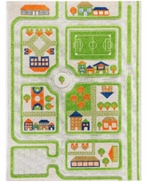 """Ivi Traffic 3D Childrens Play Mat & Rug in A Colorful Town Design with Soccer Field, Car Park&Roads - 72""""L x 53""""W - Green"""