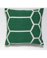 India's Heritage Cotton Woven Throw Pillow INHR1381 Color: Dark Green