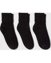 Women's 3pk Mary Jane Fold Over Cuff Socks - A New Day Black One Size
