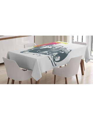 East Urban Home Pop Art Retro Custom Classic Car w/ Grunge Effects IllustrationTablecloth, Polyester in Blue/Green | Wayfair
