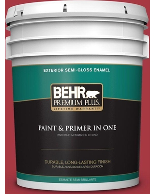 BEHR Premium Plus 5 gal. #bxc-03 Scarlet (Red) Semi-Gloss Enamel Exterior Paint and Primer in One