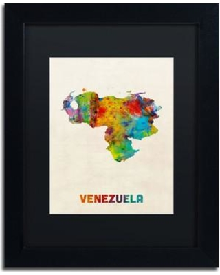 "Trademark Art 'Venezuela Watercolor Map' Framed Graphic Art on Canvas MT0740-B1114BMF / MT0740-B1620BMF Size: 14"" H x 11"" W x 0.5"" D"