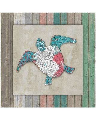 """Trademark Art 'Wood Frame Turtle' Graphic Art Print on Wrapped Canvas ALI23815-C Size: 24"""" H x 24"""" W x 2"""" D"""