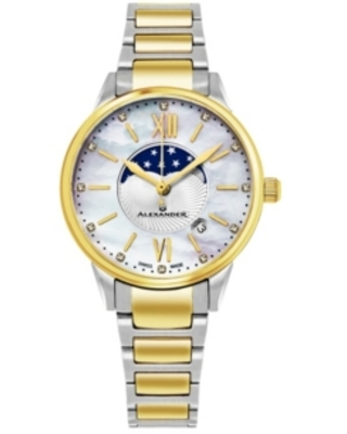Alexander Watch AD204B-04, Ladies Quartz Moonphase Date Watch with Yellow Gold Tone Stainless Steel Case on Yellow Gold Tone Stainless Steel Bracelet