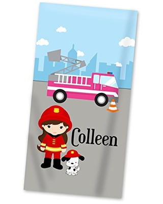 Fire Truck Beach Towel - Big City Fire Engine Girl Lightweight Pool Towel Personalized Name Gift