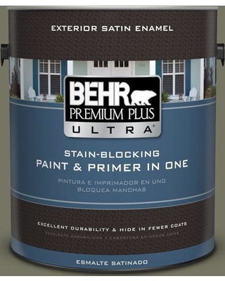 BEHR Premium Plus Ultra 1 gal. #N350-6 Peppergrass Satin Enamel Exterior Paint and Primer in One