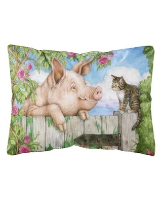 Siggers Pig at the Gate with the Cat Fabric Indoor/Outdoor Throw Pillow Winston Porter