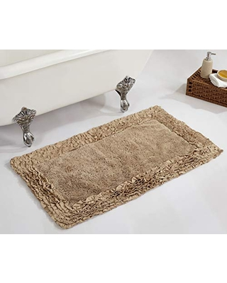 """Better Trends Shaggy Border Collection is Ultra Soft, Plush and Absorbent Tufted Bath Mat Rug 100% Cotton in Vibrant Colors, 24"""" x 40"""" Rectangle, Beige"""