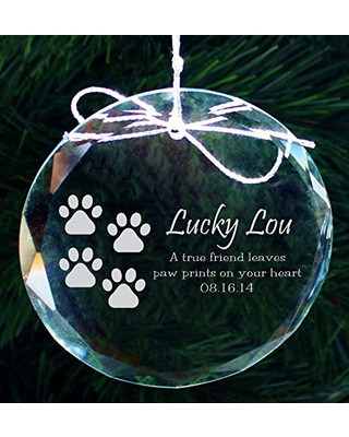 Personalized Pet Ornament, Custom Pet Memorial Ornament, Engraved Crystal Ornament for Pets, Christmas Ornament for Dog, COR38