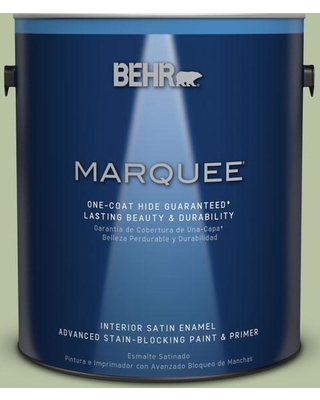 BEHR MARQUEE 1 gal. #M380-4 Chopped Dill One-Coat Hide Satin Enamel Interior Paint and Primer in One