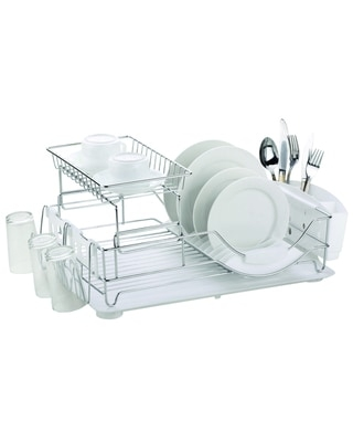 Home Basics Chrome Plated Steel 2-tier Deluxe Dish Drainer - White (White)