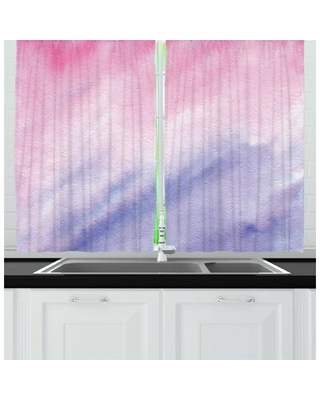 2 Piece Ombre Pink Abstract Dreamy Fine Art with Pastel Color Changes Print Kitchen Curtain Set East Urban Home
