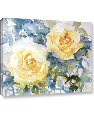 "Latitude Run Yellow Roses Painting Print on Wrapped Canvas LTRN6387 Size: 14"" H x 18"" W x 2"" D"