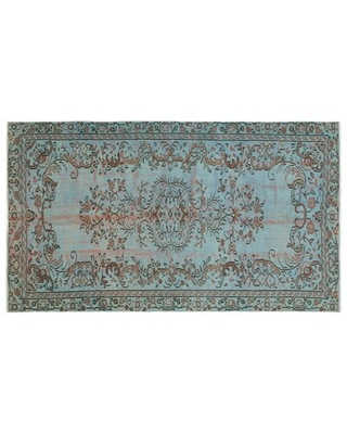 """One-of-a-Kind Hand-Knotted 1960s Turkish Blue 4'9"""" x 8'2"""" Area Rug Isabelline"""