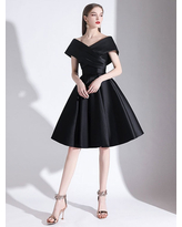 Milanoo Evening Dress A-Line V-Neck Knee-Length Short Sleeves Lace-up Pleated Satin Fabric Cocktail Dress Little Black Dress