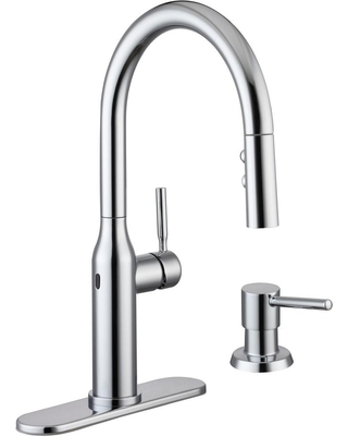 Glacier Bay Upson Single Handle Touchless Pull Down Sprayer Kitchen Faucet With Soap Dispenser
