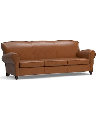 "Manhattan Leather Grand Sofa 96.5"", Polyester Wrapped Cushions, Statesville Espresso"