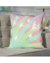 "Brayden Studio Enciso Birds and Sun Double Sided Print Pillow Cover BYST5051 Size: 14"" x 14"", Color: Green/Pink"