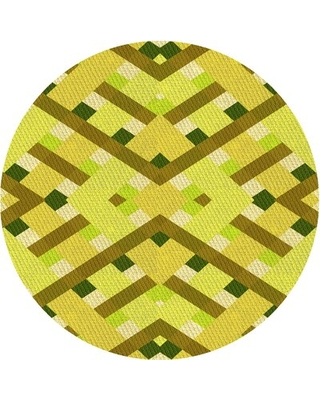 Abstract Wool Yellow Area Rug East Urban Home Rug Size: Round 4'