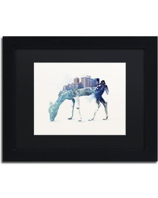 "Trademark Art ""City Deer"" by Robert Farkas Framed Graphic Art ALI2262-B1 Size: 11"" H x 14"" W x 0.5"" D Matte Color: Black"
