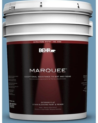 BEHR MARQUEE 5 gal. #560D-5 Ocean View Flat Exterior Paint and Primer in One