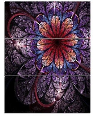 Shop Deals For Design Art Glittering Bright Colorful Fractal Flower 3 Piece Graphic Art On Wrapped Canvas Set Canvas Fabric In Brown Blue Size Large 33 40