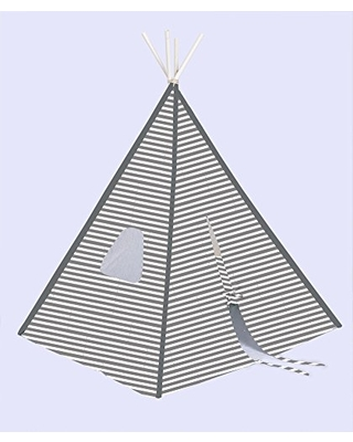 Bacati Teepee Tent for Kids, 100% Cotton Breathable Percale Fabric Cover, Grey