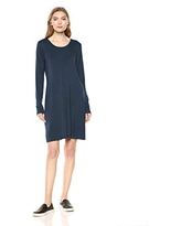Amazon Brand - Daily Ritual Women's Jersey Long-Sleeve Scoop-Neck T-Shirt Dress, Navy, X-Small