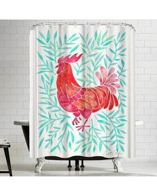 East Urban Home Lecoq Mint Leaves Shower Curtain URBR4622